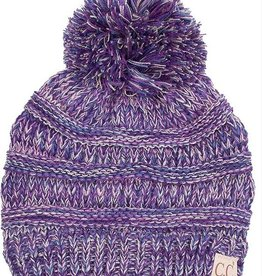 C.C Kids Pom Pom Beanie Hat- Dark Purple Triblend