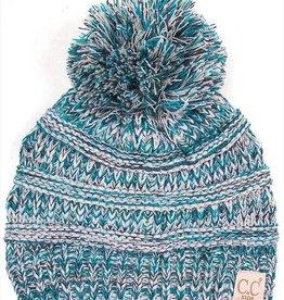 C.C Kids Pom Pom Beanie Hat- Blue Triblend