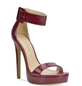 Circle Of Love Strappy Heels- Burgundy