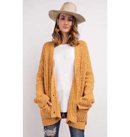 The Thought Of You PomPom Knitted Cardigan- Mustard