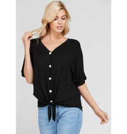 What A Luxury Button Down Top- Black