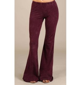 Nine To Five Bell Bottom Pants- Burgundy