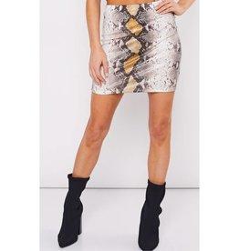 Spin Me Around Snake Print Mini Skirt- Brown