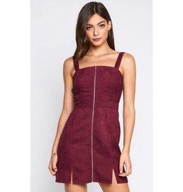 Always My Favorite Corduroy Zipper Mini Dress- Burgundy