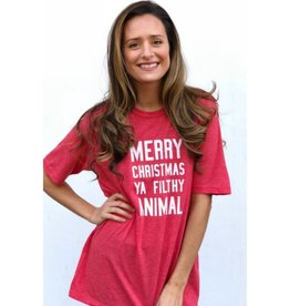 Merry Christmas You Filthy Animal Graphic Tee - Heather Red