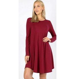 Love That Lives Long Sleeve Piko Dress w/Pockets - Cabernet