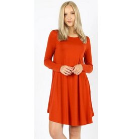 Love That Lives Long Sleeve Piko Dress w/Pockets - Copper