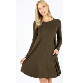 Love That Lives Long Sleeve Piko Dress w/Pockets - Dark Olive
