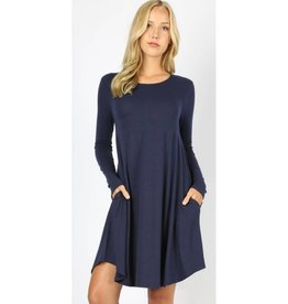Love That Lives Long Sleeve Piko Dress w/Pockets - Navy