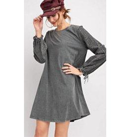 Teach Me Your Ways Longsleeve Lace Detail Knit Dress- Charcoal