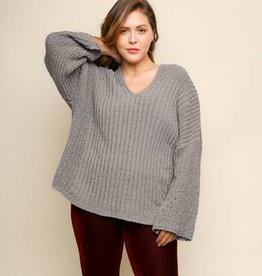 You Might Be The One Chenille Knit V-Neck Sweater- Slate Grey