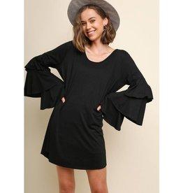 Risk My Heart On You Longsleeve Dress- Black