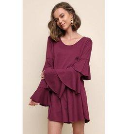 Risk My Heart On You Longsleeve Dress- Mulberry
