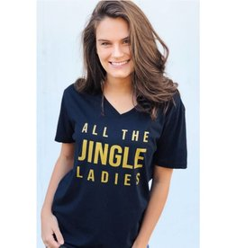 All The Jingle Ladies V-Neck Graphic Tee- Black