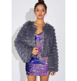 Baby It's Cold Outside Fur Bell Sleeve Jacket- Grey