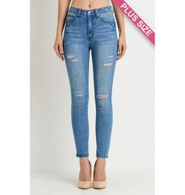 Dance Into The Day High Waist Distressed Skinny Jeans- Medium Wash