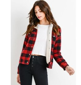 Bundled By The Fire Trucker Jacket- Red