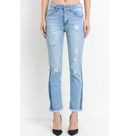 Don't Doubt Yourself High Waist Distressed Ankle Flare Jeans- Light Wash