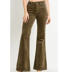 You're Just My Type High Waist Corduroy Flare Jeans- Desert Taupe