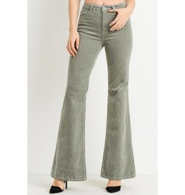 You're Just My Type High Waist Corduroy Flare Jeans- French Grey