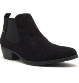 Detailed Dreams Suede Ankle Booties- Black-Stretch Suede