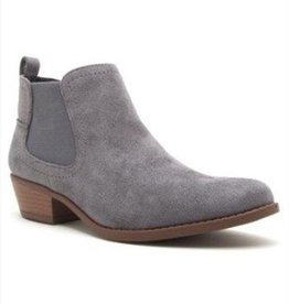 Detailed Dreams Suede Ankle Booties- Steel Grey-Stretch Suede
