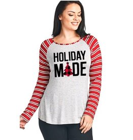 Holiday Mode Double Striped Long Sleeve Top- Red