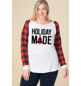 Holiday Mode Plaid Long Sleeve Top- White