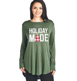 Holiday Mode Hi-Lo Longsleeve Top- Olive