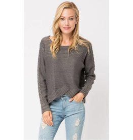 Paving The Way Chunky Cable Knit Sweater- Charcoal