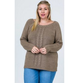 Tables Have Turned Cable Knit Open Back Sweater- Mocha