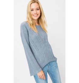Work From Home Cable Knit Sweater- Denim Blue