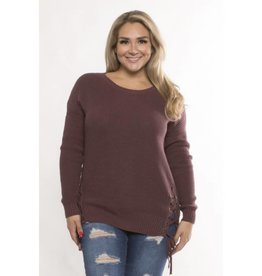 Your Little Daydream Lace Up Sweater - Plum
