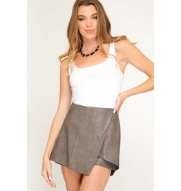 She's Got Heart Faux Leather Skort - Mocha Grey