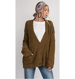 The Thought Of You PomPom Knitted Cardigan- Faded Olive