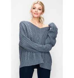 Feel For Fashion V-Neck Cable Knit Oversized Sweater- Smokey Blue