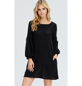 Look Into This Waffle Knit Dress- Black