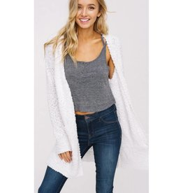 Let's Cuddle Popcorn Knit Cardigan- Ivory