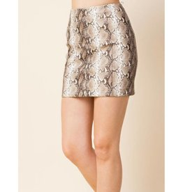 Just Let It Be Mini Skirt - Taupe Snake