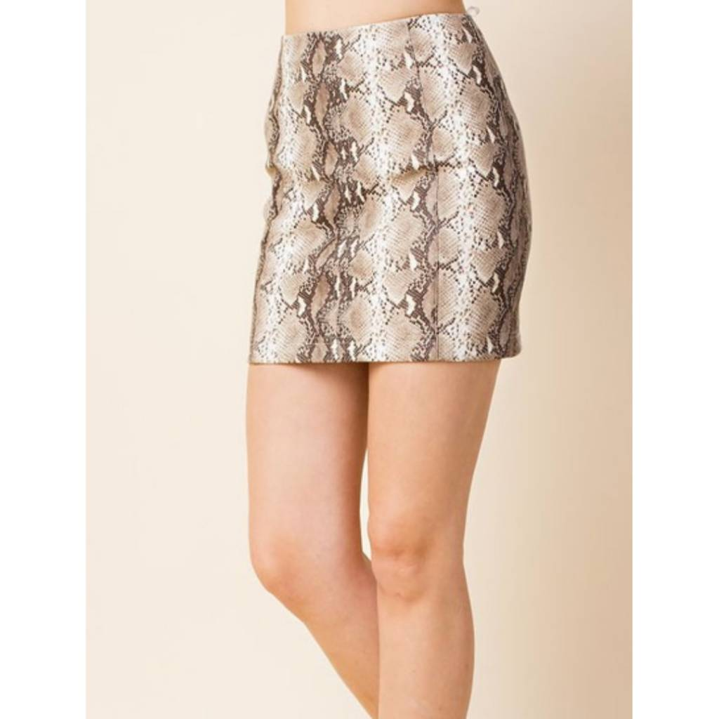 a90b30e95f Just Let It Be Mini Skirt - Taupe Snake ...