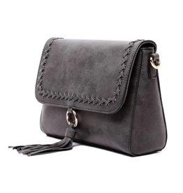 The Sara Flapover Crossbody Bag- Black