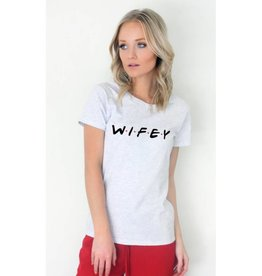 Wifey Loose Fit Graphic Tee- Ash Grey