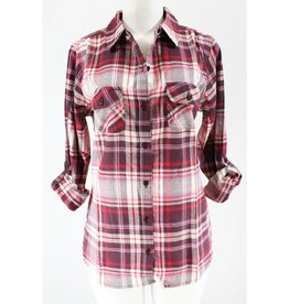 Checkmate Plaid Flannel Shirt- Mauve/Pink