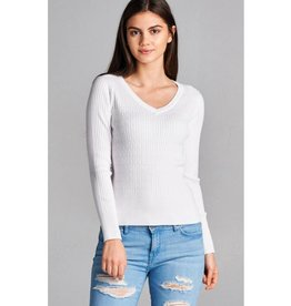 Bare The Cold V-Neck Cable Knit Sweater- Off White