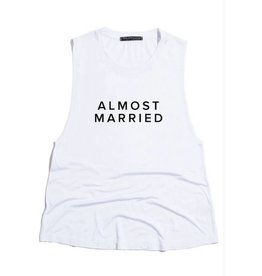 Almost Married Scoop Neck Tank Top- White