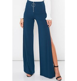 Stay Groovy Side Slit Pants- Hunter Green