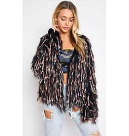 Dazzle Them All Shaggy Knit Jacket- Black