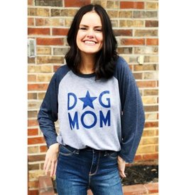 Dog Mom Star Raglan Tee- Heather Grey