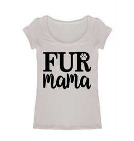 Fur Mama Scoop Neck Graphic Tee- Ivory