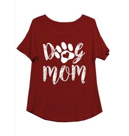Dog Mom Scoop Neck Graphic Tee- Burgundy